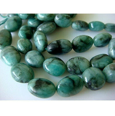 "19"" Strand Emerald Nuggets, Plain Oval Emerald Nuggets, AAA Emerald Beads"
