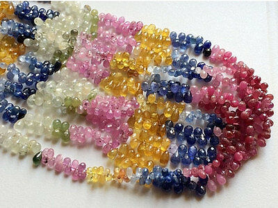 """16"""" Strand Sapphire Beads Multi Sapphire Beads Ruby Beads, Faceted Drop Sapphire"""