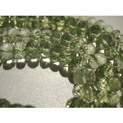 """2"""" Half Strand Green Amethyst, Green Amethyst Micro Faceted Rondelles Beads"""