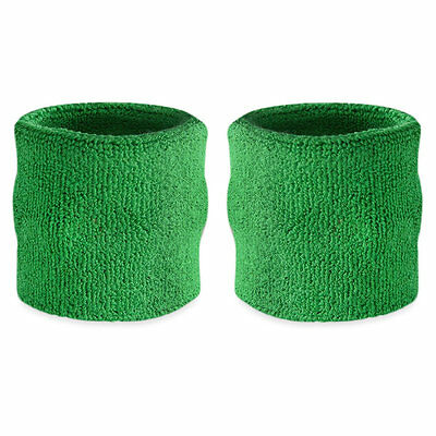 Suddora Green Wrist Sweatband Pair - Two Sport Cotton Wristbands