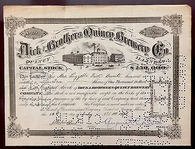 1928 Dick & Brothers Quincy Brewery Co. VERY RARE PROHIBITION ERA BREWERY STOCK!