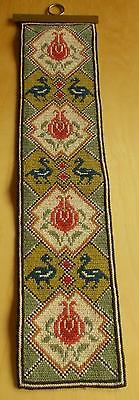 Swedish twist-stitch embroidered bellpull, trad. pattern with roses and dragons