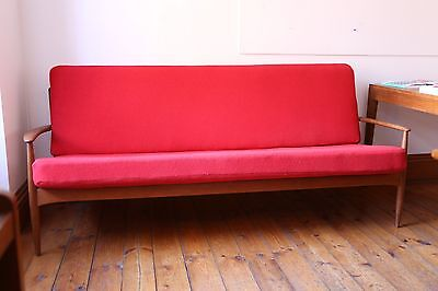Mid-century vintage retro 1960s three seater sofa Danish teak Grete Jalk
