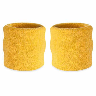 Suddora Yellow Wrist Sweatband Pair - Two Sport Cotton Wristbands
