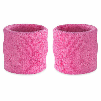 Suddora Pink Wrist Sweatband Pair - Two Sport Cotton Wristbands