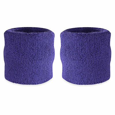 Suddora Purple Wrist Sweatband Pair - Two Sport Cotton Wristbands