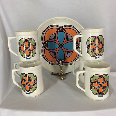 Peter Max Syracuse Iroquois China Vintage 6 Mugs and 1 Ten Inch Plate MCM