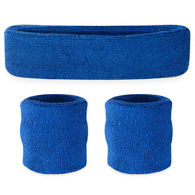 Suddora Blue Sweatband Set - Cotton Wristbands and Sport Headband Sweat Band