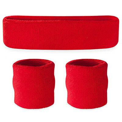 Suddora Red Sweatband Set - Cotton Wristbands and Sport Headband Sweat Band