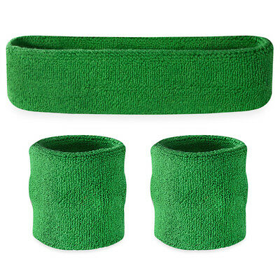 Suddora Green Sweatband Set - Cotton Wristbands and Sport Headband Sweat Band