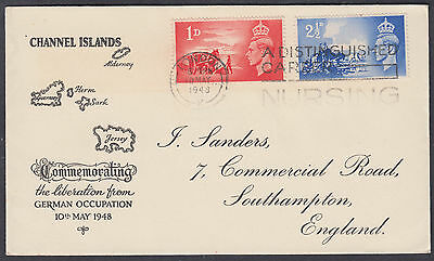 1948 Channel Islands Liberation FDC;London A Distinguished Career Nursing Slogan