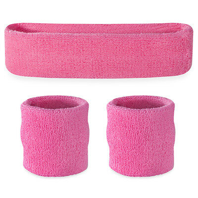 Suddora Pink Sweatband Set - Cotton Wristbands and Sport Headband Sweat Band