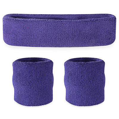 Suddora Purple Sweatband Set - Cotton Wristbands and Sport Headband Sweat Band