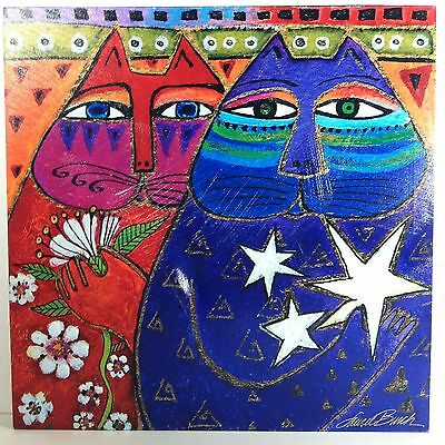Laurel Burch Cat Painting picture Three Wishes Canvas Wall hanging Art Abstract