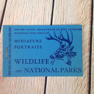 1940's stamp booklet Wildlife of our National Parks miniature portraits Book Vtg