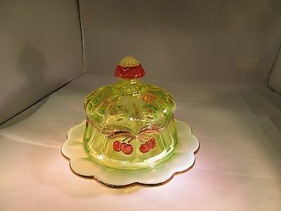 Vaseline Glass Cherry & Cable DOMED covered BUTTER/CHEESE dish uranium G-417