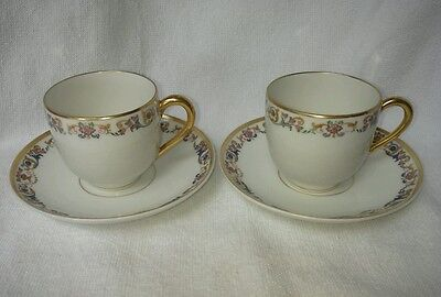 Vintage pair LIMOGES small TEA CUP SAUCER TEACUP SET  Demitasse France