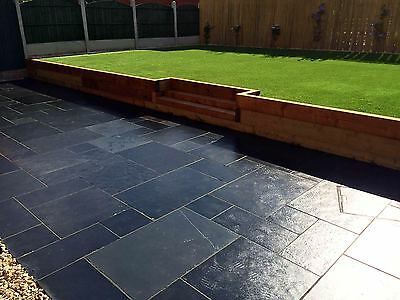 Brazilian Black Slate ✔ Paving Slabs flags paver-18.9m2 3 size Budget Packs SALE