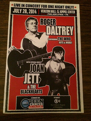 Roger Daltrey The Who Joan Jett Teen Cancer America Concert Program July 2014.