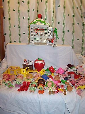 Large Vintage Lot of Strawberry Shortcake Dolls and Accessories 1980s Kenner