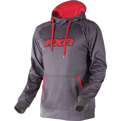 FXR Men's SIGNATURE TECH Pullover HOODIE SWEATSHIRT - Charcoal/Red - XL - NEW