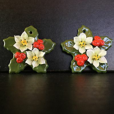2 CHRISTMAS Ornaments: Ceramic, Holly leaves, berries & flowers, unique
