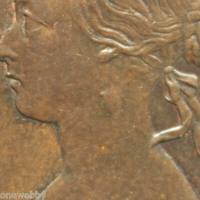 1860 Queen Victoria Beaded Half-Penny With a lump on her neck A/EF SNo24220