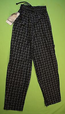 Elastic Chef Cooking Pants Sz XS Chef Works Black Diamond Restaurant Uniform