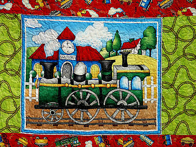 "Handcrafted Quilt - 68 1/2"" X 91"" TRAIN I THINK I CAN STEAM ENGINE STATION TRACK"