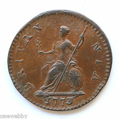1773 George III Farthing RARE No stop reverse SNo28796