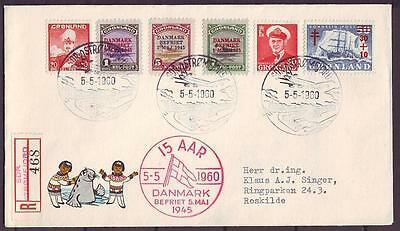 z3766/ Greenland 15 Year Liberation REC Cover 1960 w/American Liberation Issue