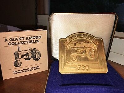 John Deere 730 Tractor Belt Buckle 1991 Limited Ed Gold Plated