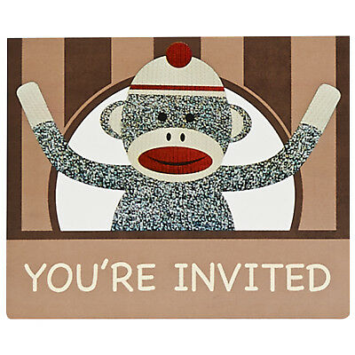 Sock Monkey Red Invitations