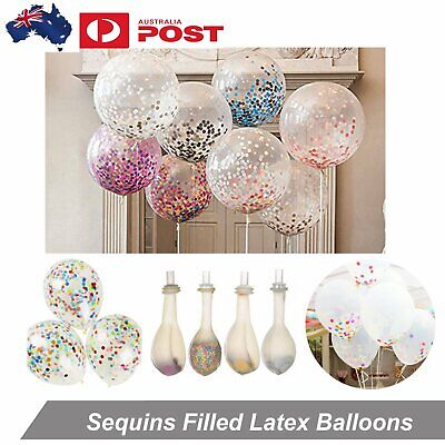 5pcs 25cm Helium Balloon Clear Sequins Confetti Filled Latex Balloons Wedding De