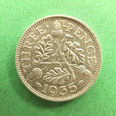 1935 George V Silver Threepence A/UNC SNo24673