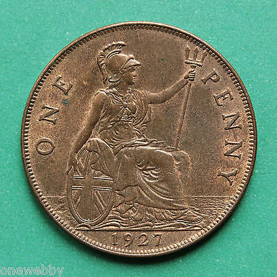 1927 George V Penny A/UNC SNo28209