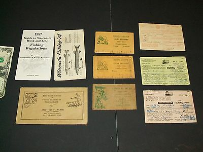 Lot of  Vintage Wisconsin LIcenses & Fishing Laws Regulations Etc.