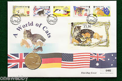 1996 Isle of Man World of Cats Cover & 1 Crown Burmese cat coin SNo38752