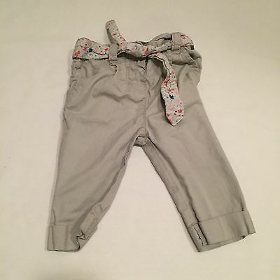 Grey floral belted chino style trousers Baby girls clothes 3-6 Months