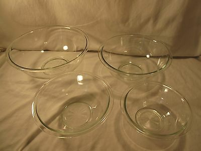 4 piece Pyrex Nesting Bowls Clear Glass 4L-1L Oven or Microwave Use