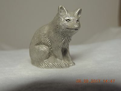 Pewter S.d.a Fox, Sitting Figurine, Nicely Detailed!