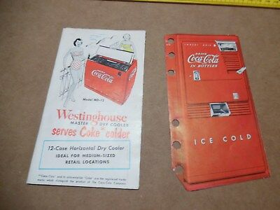 Vtg Coca Cola WD-12 & WC-42T Westinghouse 5 Cent Coin Cooler Fold Out Brochure