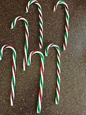 6 Candy Cane Christmas Tree Ornaments Decorations Plastic Red White Green