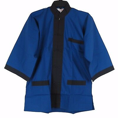 Traditional Chinese Men's Jacket in Blue w/ Black Trim - Size M - New