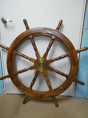 Vintage Ship's Wheel 107cm Wooden Japanese Nautical Maritime #76