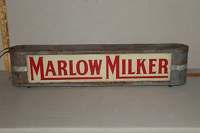 SCARCE 1930's MARLOW MILKER RIPPLE GLASS REVERSE PAINTED LIGHTED SIGN FARM DAIRY