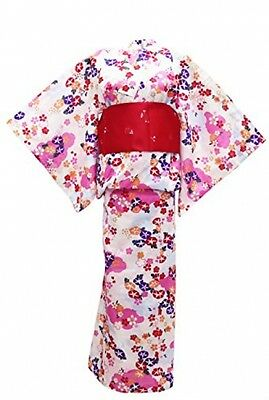 Women's Traditional Japanese Kimono Robe Yukata 450 With Pre-tied Obi Belt