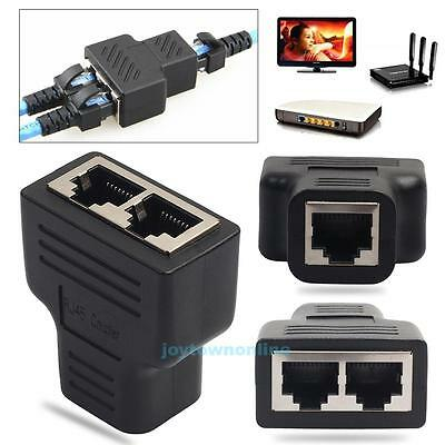 RJ45 Splitter Adapter 1 to 2 Ways Dual Female Port CAT5/CAT 6 LAN Ethernet Cable