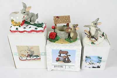 3 Charming Tails Mouse Lot Collection in Box Signed Rare Christmas Well Snow