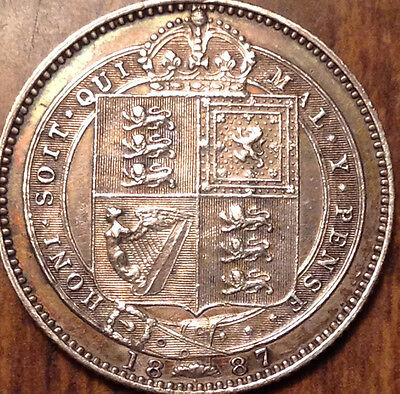 1887 Uk Gb Great Britain Silver Shilling In Beautiful Condition !